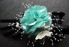 Ladies wrist corsage Pearls cream/ Aqua Mint Satin Flower.Wedding, Prom