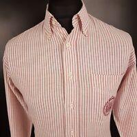 HUGO BOSS Mens Vintage Shirt 40 MEDIUM Long Sleeve White Regular Fit Striped