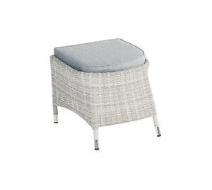 Hocker mit Sitzkissen Roma in grau-mix Rattanoptik Sitzhocker Gartenmöbel