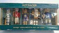 Vintage Nutcracker Village Christmas Sports Ornaments Wood new old stock 1999