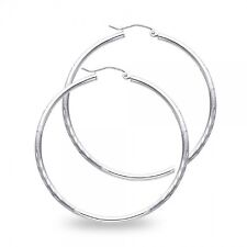 14k White Gold Diamond Cut Hoops Round Earrings Satin Finish French Lock Solid