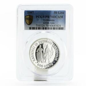Lithuania 50 litu Settling down of Karaims Tartars PR70 PCGS silver coin 1997
