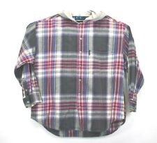 Rhinoceros Men's Xl Hooded Flannel Plaid Shift Jacket Hoodie Vtg Gray Red Blue