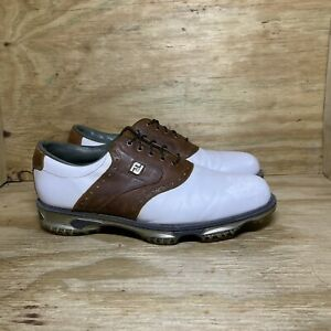 FootJoy DryJoys Tour Golf Shoes 53699 Men's size 11.5M White Brown