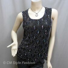 Peacock Sequin Beaded Embroidered Tank Blouse Top Black S~M