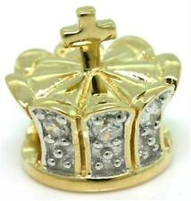 Charm - 30 Day Retunrs Free ship Diamond Crown Sparkling 9ct 9K Solid Gold Bead