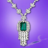 GIA CERTIFIED 100% NATURAL EMERALD 20.14X14.55X9.82MM MULTI DIAMOND NECKLACE