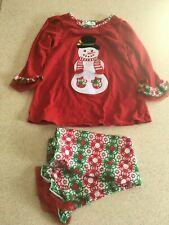 BONNIE JEAN  Snowman  4T  Christmas Pajamas Red Green White Christmas VERY NICE