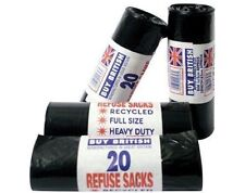 400 HEAVY DUTY BLACK REFUSE SACKS BAGS BIN LINERS BAG - 20 BAGS PER ROLL BN