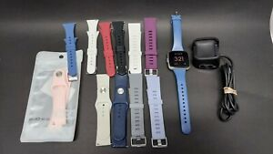 Fitbit Versa Lite Charcoal + 11 Bands Lot + Charger - WORKS GREAT!