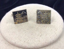 Floral Tree Mountain Cuff Links Gg490 Vintage Mens Sterling Silver 925 Etched