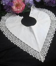 ANTIQUE Edwardian crochet LACE collar CAPELET reversible LINEN textured COTTON