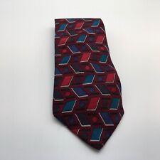 "Vintage Henry Grethel Silk Men's Necktie, Red / Black / Blue Geometric, 56* X 4"""