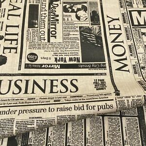 56. Newspaper 100%Cotton Fabric. 140cm wide, Price per 1/2 metre
