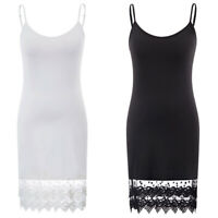 Women's Spaghetti Strap Dresses Floral Lace Trim Cami Camisole Slip Sleep Dress