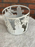 Bath and Body Works 3 Wick Candle Holder Snowman Christmas Trees Snowflakes