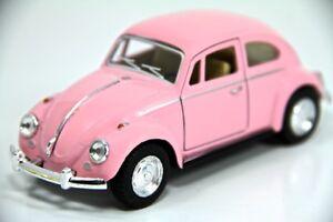 "5"" Kinsmart 1967 VW Volkswagen Beetle Diecast Model Toy Car 1:32 Pastel Pink"