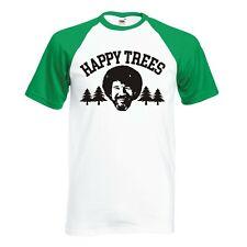 "INSPIRED BY BOB ROSS ""HAPPY TREES"" RAGLAN BASEBALL T-SHIRT"