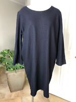 COS Womens Large Navy 100% Wool 3/4 Sleeve Shift Sweater Dress D