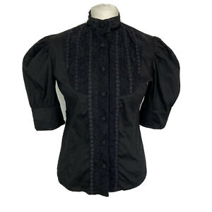 Spin Doctor Black Modest Victorian Gothic Lace Bib Puff Sleeve Shirt Size 12