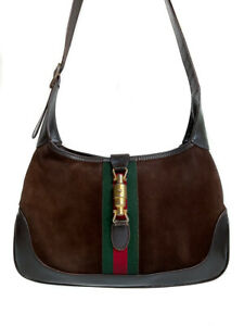 Vintage GUCCI Green Red Web Stripe Bag Brown Suede Smooth Leather PushLock Italy