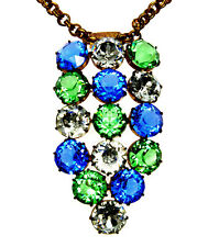ANTIQUE ART DECO CZECH GLASS LARGE FACETED CRYSTAL BRASS CHAIN NECKLACE