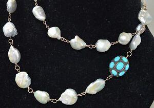 18K Gold BAVNA Turquoise Diamond Baroque 34 Inch Pearl Necklace Sautoir $6,450