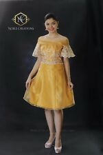 FILIPINIANA Dress Off-Shoulder Philippine National Costume Embroidered Silk
