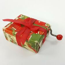 "Vintage Hand Crank Music Box 2"" Wrapped Christmas Gift Plays Jingle Bells Red"