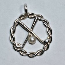 Adorable Sterling Silver 925 Real Pearl GOLF BALL, GOLF CLUB Round Pendant