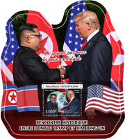 Central African Rep Donald Trump Stamps 2018 MNH Kim Jong-un Famous People 1v SS