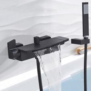 Badewannenarmatur Duschset Schwarz Brause Wasserfall Wasserhahn Wannen Badewanne
