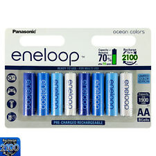 8 x Panasonic Eneloop AA batteries 1900mAh Rechargeable Ni-MH Ocean colors Accu