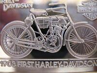 1.4 OZ.999 PURE SILVER RARE 1903 FIRST HARLEY DAVIDSON 90TH ANNIVERSARY + GOLD
