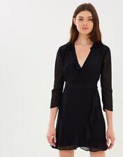 Whistles Mimi Black Dobby Mesh Frill Wrap Mini Dress 6 - B60