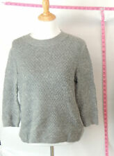 Zara Knit Gray Angora Crewneck Sweater Top Sz L #3720 Batch 115