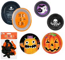 Disposable Halloween 6X Paper Platters,16X Paper Bowl,8x Pumpkin Plates,Monster