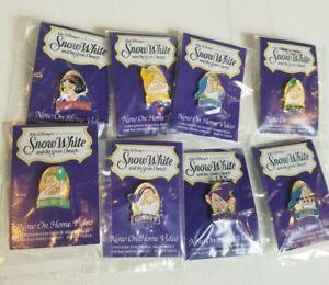 Deadstock Vintage Snow White Seven Dwarves Disney Enamel Pins Set 90s Rare VTG