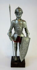 More details for vintage knight in suit of armour, shield /middle ages / medieval miniature model