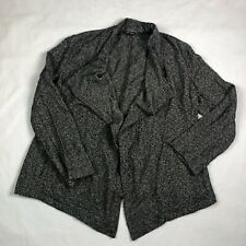 Eileen Fisher Long Cardigan Sweater Size L Grey Black Open Front High Low