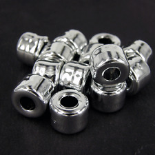 50 x CCB Plastic Silver Spacer Beads Large Hole 8x11mm  Plain Smooth Finish NP2