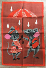 Rare Vtg IRISH Linen Tea Towel MICE in Rain with Umbrella Ulster LES SOURIS