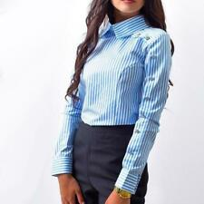 Striped Button Casual Women Tops Blouse Fashion Long Sleeve Turn Down Collar New