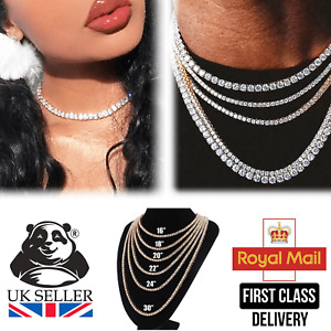 Mens Womens Iced Out Silver Diamond Shiny Chain Tennis Necklace Jewellery Choker