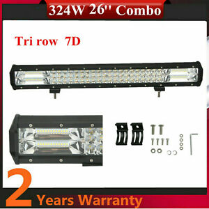 26inch 324W LED Combo Beam Light Bar Triple Row 7D+ Chevrolet Truck SUV Ranger
