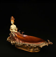 Asia Modern Art Pure Brass Copper Hand Painting Nude Woman Court lady Sculpture