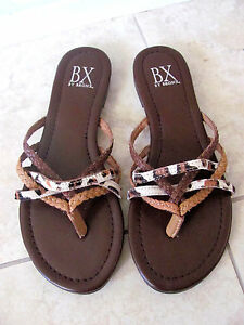 NEW BX by Bronx Leather Woven Flat Sandals Womens Size 8 Brown NWOB