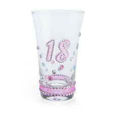 18TH Birthday Sparkle Shot Glass with a Silver Glittered Diamantes and Pink Base