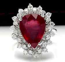 7.90 Carats Natural Ruby and Diamond 14K Solid White Gold Ring