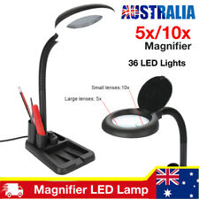 Dimmable Magnifying Crafts Glass Desk Lamp With 5/10X Magnifier & 36LED Light AU